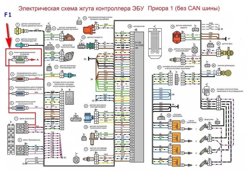 Электрическая схема Приора 1