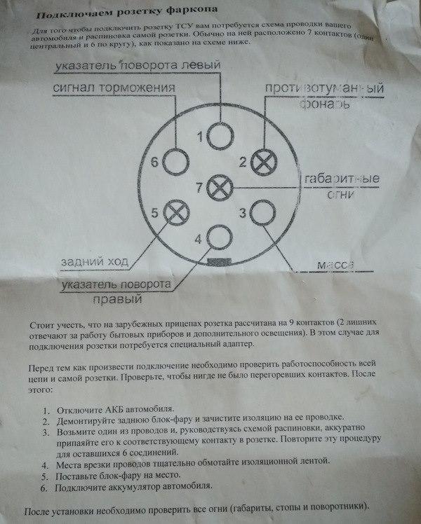 Обозначение контактов в розетке Приора для подключения