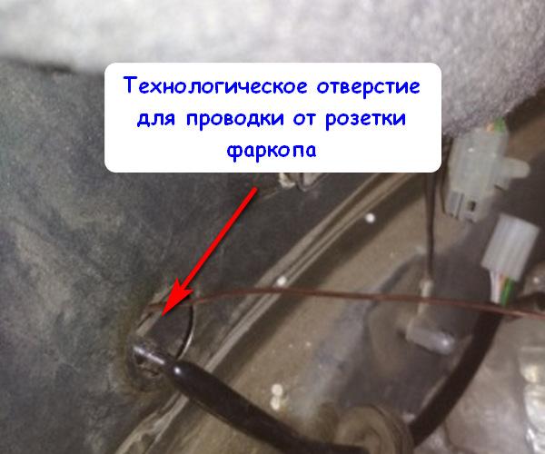 Отверстия для ввода проводов от фаркопа