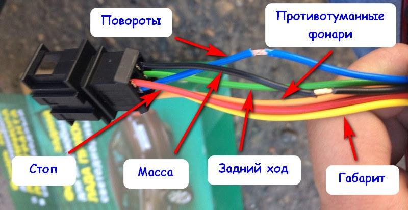 Распиновка проводов на задней фаре Приора
