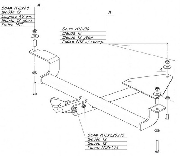 Схема сборки фаркопа